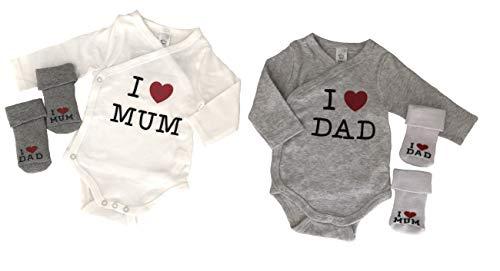 Body para bebé con calcetines, niño y niña I love Mum – I love Da