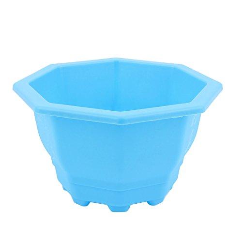sourcingmap® Forme octogonale en plastique Maison Bureau Décor Fenêtre Jardin Pot Fleurs Plantes Bleu