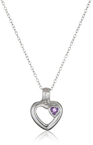 Amazon Sterling Silver Amethyst Heart Shape Pendant Necklace 18