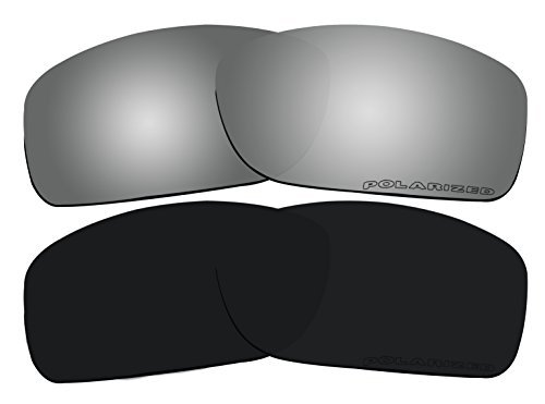 2 Pairs Lenses Replacement Polarized Black & Black Mirror for Oakley Canteen 2014 (Canteen New) OO9225 Sunglasses by BVANQ