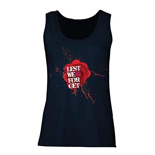 lepni.me Damen Tank-Top Rote Mohnblume, Waffenstillstandstag (Large Blau Mehrfarben)