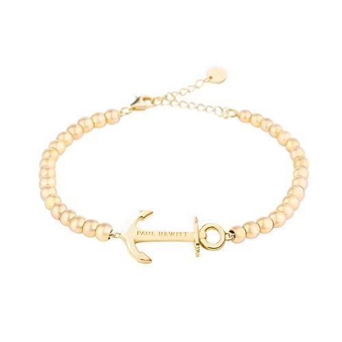 PAUL HEWITT Perlenarmband Damen Anchor Spirit - Gold Armkette Damen mit Anker Schmuck aus Edelstahl