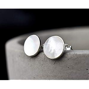 925 Sterling Silber Mini Ohrstecker echtes Perlmutt Geschenkverpackung Schmuckschachtel Minimalistischer Schmuck aus Echtsilber