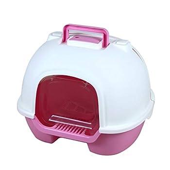 Wcx Coffre à litière pour Chat pour Animaux domestiques - Coffre-Fort/volet/poignée, pour Une hygiène Facile à Nettoyer pour Votre Chat de Petite/Moyenne Taille (Couleur : Pink)