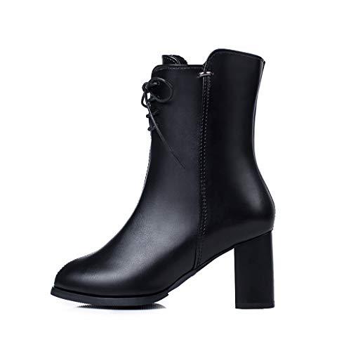 Ziyou Mode Frauen spitz Spitze reißverschluss huf high Heels schnürschuhe schwarz Winter Ankel Stiefel Schuhe(38, Schwarz) -