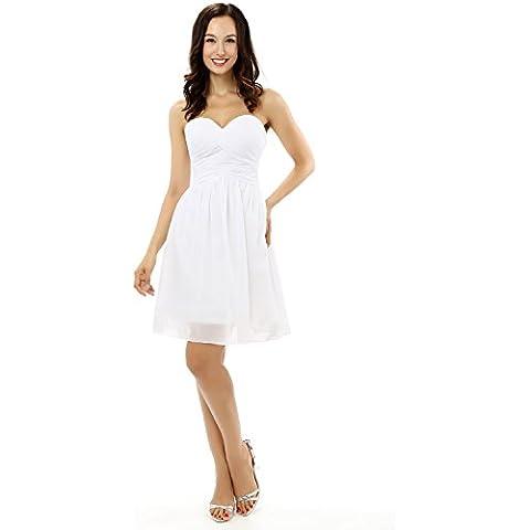 Engerla tesoro rouches Empire da donna, lunghezza ginocchio, linea Chiffon abito da sposa