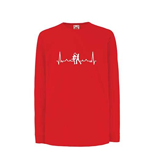 lepni.me Kinder-T-Shirt mit Langen Ärmeln Tanzen mit Herzschlag, Tanz-Liebhaber-Shirt, Tänzer-Outfit (9-11 Years Rot Mehrfarben) (Mini Maus Geburtstag Thema)