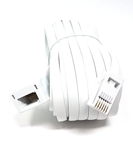 M-Core-Effekt, Weiß, BT-Telefon-Verlängerungskabel für Büro und Zuhause, 6Draht-631A-BT-Stecker zu BT-Buchse (Erhältlich in 2m, 3m, 5m, 10m, 15m 20m) 10m