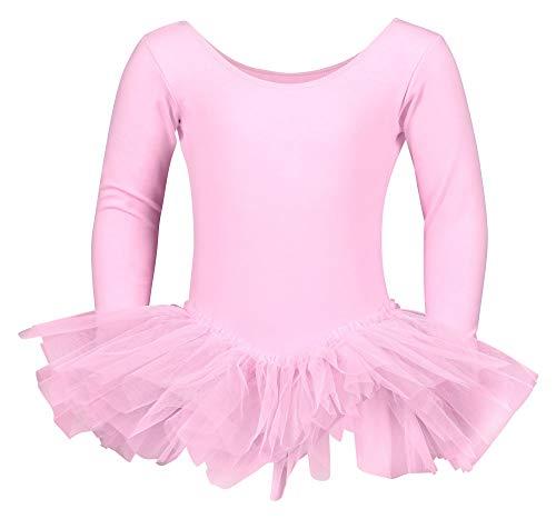 tanzmuster Kinder Ballett Trikot Alea mit Tutu aus 3 Lagen Tüll. Wunderschönes Ballettkleid aus Baumwolle mit Langen Ärmeln in rosa, Größe:104/110