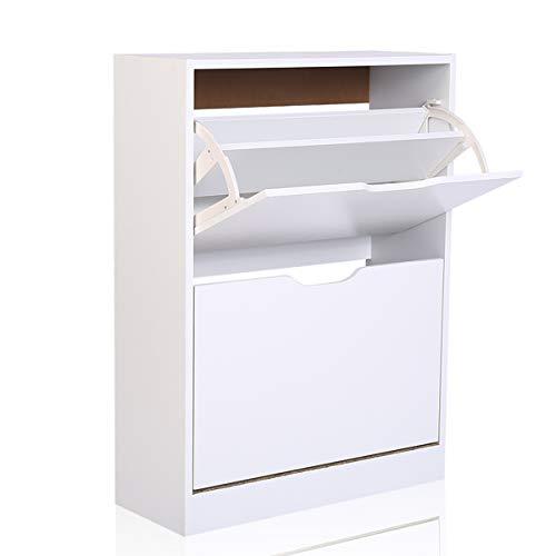 Schuh-speicher-organisator (Happy Home 2 Tier Schuhschrank Schuh-Speicher-Organisator für Wohnzimmer Flur Eingang (Weiß, B60*T23.5*H81.5))