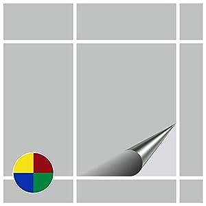 FoLIESEN Fliesenaufkleber für Bad und Küche - 15x20 cm - hellgrau matt - 150 Fliesensticker für Wandfliesen