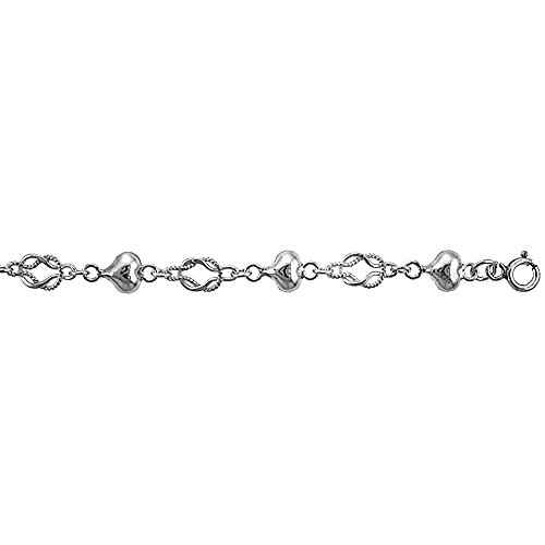 Revoni Sterling Silver Anklet w/ Heart & Knot Links