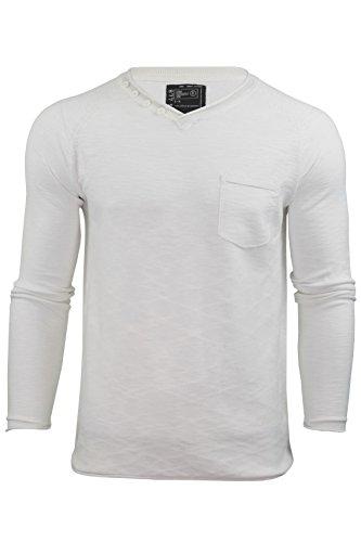 Herren V-Ausschnitt Pullover von Dissident `Temps`langärmlig Weiß