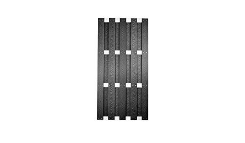 meingartenversand.de Moderner WPC Sichtschutz Garten-Zaun mit Aluminium Querstreben anthrazit im Maß 90x180 cm (Breite x Höhe) Kampen