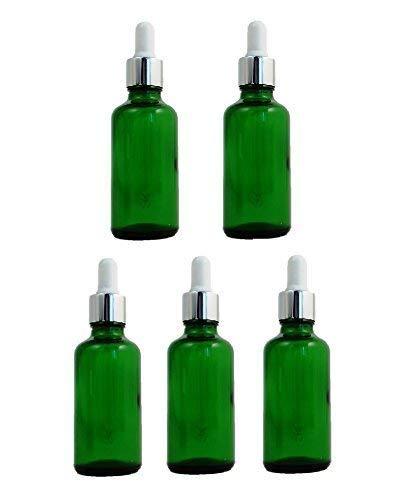 5 x flacons compte-gouttes (50 ml) en verre vert avec des pipettes de haute qualité, argentées et blanches