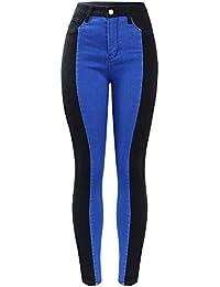 a888d42b32f4 FSDFASS Pantaloni Nuovi Jeans Tagliati a Vita Alta e Tagliati Donna  Pantaloni Jeans Skinny Elasticizzati Neri e Blu…