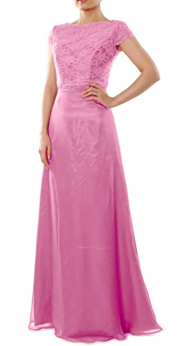 MACloth Women Cap Sleeve Long Bridesmaid Dress Wedding Party Gown with Jacket Rosa