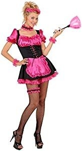 Ladies French Maid Pink/Black Costume Medium UK 10-12 for Sexy Lingerie Fancy ()