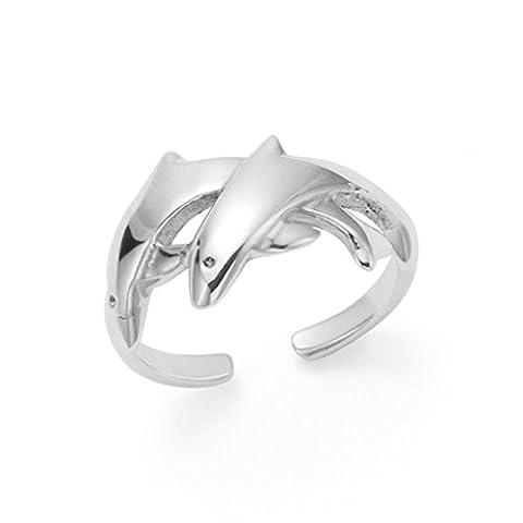 Sterling-Silber Zehenring Delfin-Design 9 mm (am breitesten). Kinder Dolphins ring silber, verstellbar, 0979 Geschenkbox