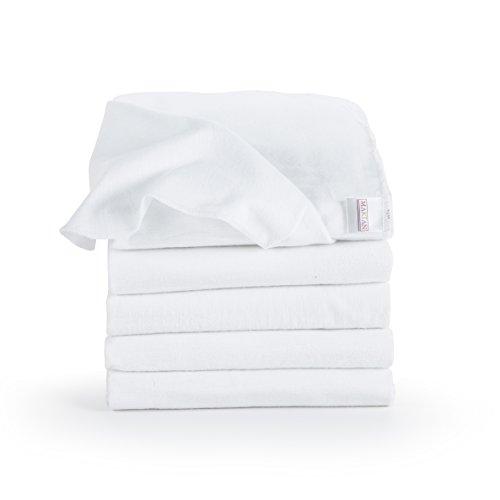 Moltontücher/Baumwolltücher - 5er Pack | 80x80 cm, weiß | PREMIUM QUALITÄT - Schadstoffgeprüft, Öko-Tex Standard 100, kochfest bei 95° C, super weich | Spucktücher, Flanelltücher