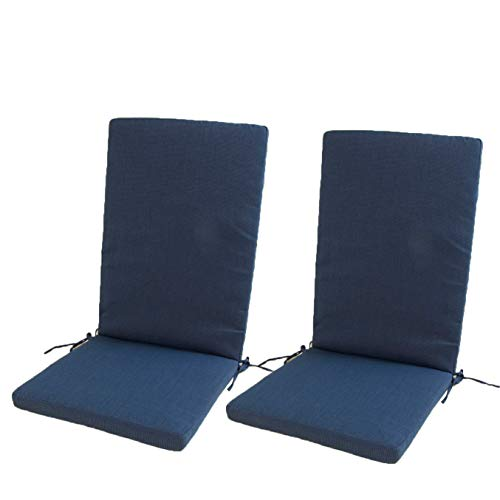Edenjardi Lot de 2 Coussins pour Fauteuil inclinable d'extérieur Couleur Bleu | Dimensions: 48x114x5 cm | Imperméable | Déhoussable | Livraison Gratuite
