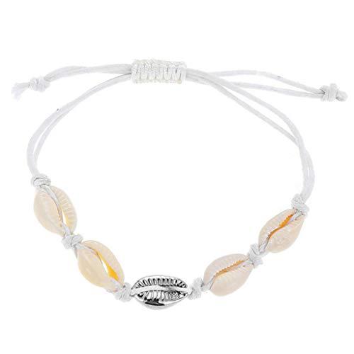 SimpleLife Natural Cowrie Shell Tobillo Pulseras -Hermmade Natural Seashell Tejido a Mano Pulsera de Las Mujeres Conchas Pulseras Accesorios