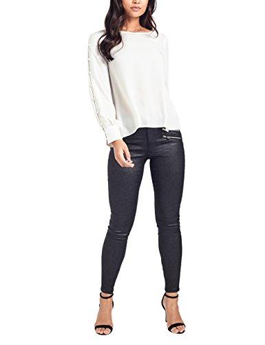Lipsy Femme Blouse à Manches Longues Boutonnées Blanc