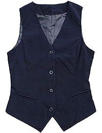 b93f6f9f30e Gilet Femme Elégante sans Manches V-Cou Simple Boutonnage Slim Fit Costume  Mode Décontracté Affaires