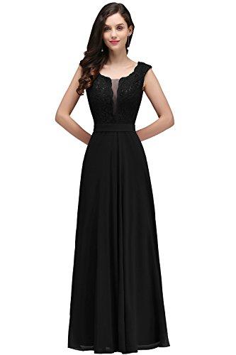 Damen Elegant V-Ausschnitt chiffon Abendkleid lang Schwarz Gr.44