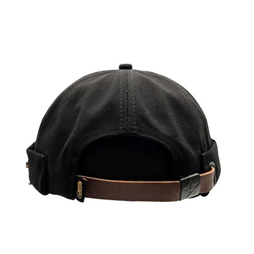 Evetin Docker Mütze Seemannsmütze Hafenmütze Bikercap Basecap Docker-Cap ganzjährig Tragbar Hat Brimless Hat Rolled Cuff Harbour Hat 010 (Schwarz) (Chef Cap)