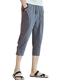 Pantalones De Lino Ancho Cómodos Ocasionales De Los Capri Hombres Ropa  Pantalones De Ocio Pantalones De Playa Pantalones 3 4… fbd44314f5d
