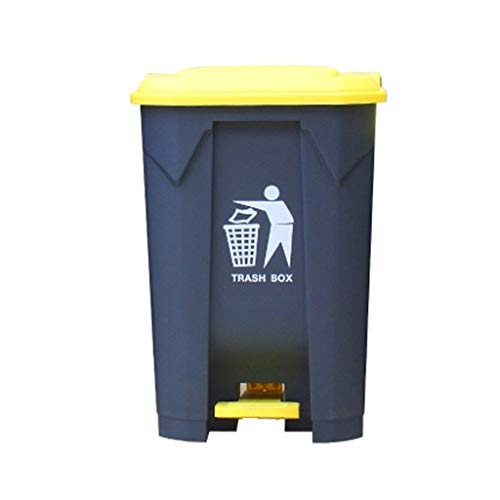 HBWJSH Mülleimer große Outdoor-Pedal Kunststoff Mülleimer Eigentum kommerzielle Hygiene Box Küche Haushalt mit Deckel Verdickung (Farbe : Gelb, größe : 80L)