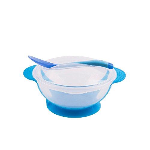 mi ji Bébé Bowl Set avec Une cuillère, sans BPA avec Une Forte Aspiration de Base et Pointe Souple de Changement de Couleur Ustensiles 1 Set