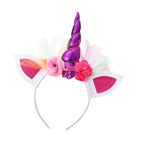 BESTOYARD 3 Stück Einhorn Haarreif Horn Stirnbänder Haarband mit Blumen und Ohren Kopfschmuck für Mädchen Kinder Halloween Cosplay Kostüm Party Dekoration (lila) (Golf Halloween Kostüm Mädchen)