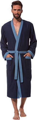 Morgenstern Bademantel Herren Marine-Blau mit Kimonokragen Größe M Saunamantel Herren-Bademantel Schlafrock Duschmantel Mischgarn Blue 50 Marine