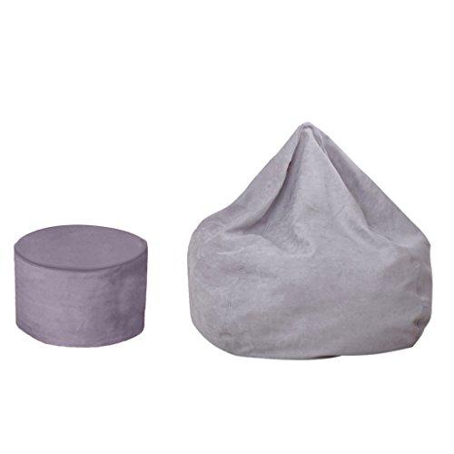 LOVIVER Einfarbig Große Sitzsack Abdeckung + Ottomans Runde Hocker Stuhlabdeckung Ohne Füllung Set, 10 Farben Erhältlich - Grau -