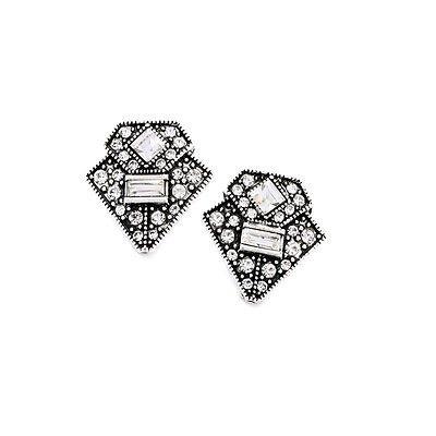 House of Joy Antik Silber Art Deco Vintage Stil Kristall Glamours Ohrstecker Ohrringe
