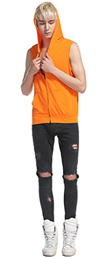 Whatlees Unisex Hip Hop Urban Bisic Design Ärmelloser Kapuzenpullover B493-Orange
