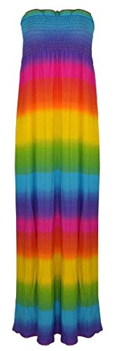 andeau Boobtude Versammelten Sheering trägerlosen Long Maxi Kleid (S/M-EU36/38, Rainbow Print) ()