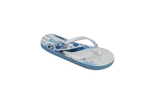 fashy® stylische Kinder V-Strap Badelatschen Zehensandale - (Made in Germany) Blau/Weiß 32/33 EU