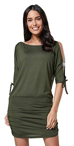 Glamour Empire Damen Tunik Top mit Armschlitz Mini-Kleid Schwarz Partykleid 157 (Khaki, EU 38/40, M) - Hi Khaki