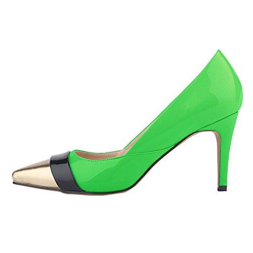 OASAP Damen Farbe-Block Pumps mit Spitzen Zehen und Stöckelabsatz Green