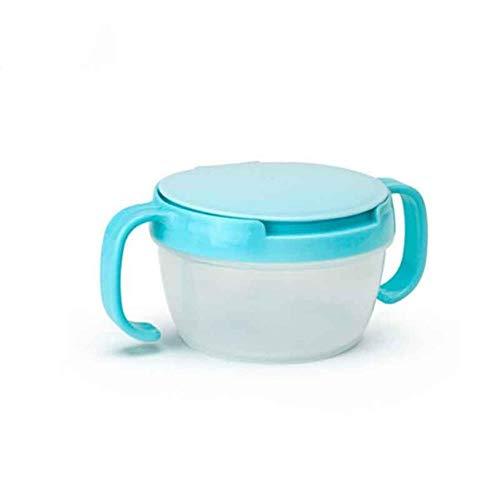 EDHG Baby Feeding Stuff Baby Snacks Schüssel Kinder Kinder Aufbewahrung von Lebensmitteln Gerichte Anti Spill 360 Drehen Baby Feste Fütterung Platte Geschirr.Blau -