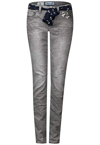 Street One Damen Tapered Slim Jeans 371923 Crissi A371923, Einfarbig, Gr. W30/L32 (Herstellergröße: 30), Grau (Light Grey Acid Wash 11724)