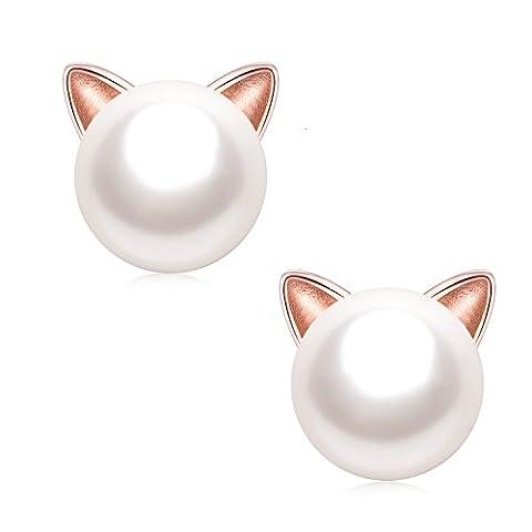EVERU Boucles d'oreilles perles pour femme, Oreilles de chat en