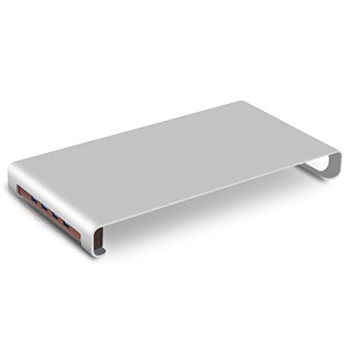 IPS-Z05 Aluminum Monitor / Notebook Stand mit 4 USB Anschluss 3.0 Hub Multimedia Ständer für PC, Laptop, iMac, MacBook Silber