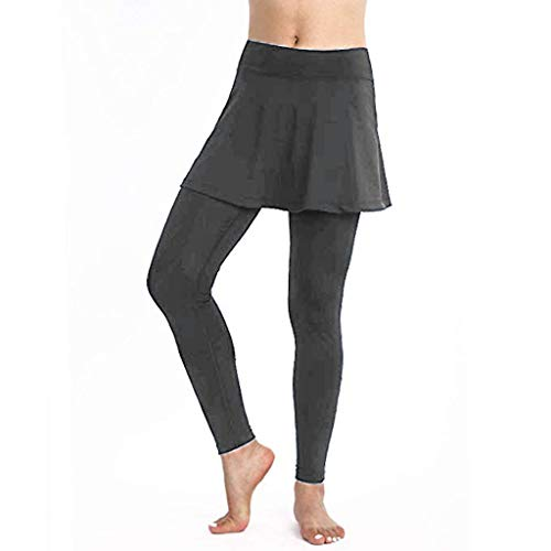 Warrior Tech Short (Damen Leggings mit Rock,Einfarbig Tennisrock mit 3/4 Länge Leggings Sporthose Shorts Yogahose Sport Fitness Cropped Culottes Gr.S-XL)