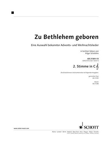 Zu Bethlehem geboren: Eine Auswahl bekannter Advents- und Weihnachtslieder in Sätzen von Hilger Schallehn. variable Besetzungsmöglichkeiten. 2. Stimme ... II, Akkordeon II, Stabspiele, Keyboard.