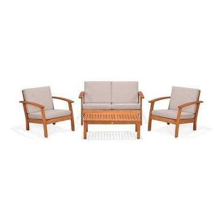 Kingsbury Conjunto sofá plazas, 2 sillones 1 Mesa café de jardín. Madera de eucalipto FSC y Cojines