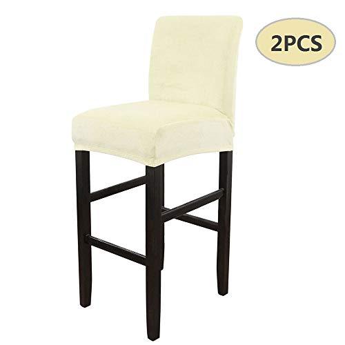 Dandelionsky 2 pcs coprisedia elastico con schienale basso fodera per sgabello alto quadrato con schienale da bar casa ufficio caffettiere (beige)